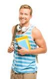 Estudante novo seguro de volta à escola no fundo branco Fotos de Stock Royalty Free