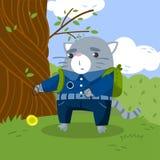 Estudante pequeno bonito do gato na farda da escola que está sob a árvore no gramado e que joga a ilustração do vetor do brinqued ilustração royalty free