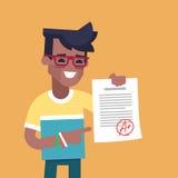 Estudante preto que guarda a folha com a marca a mais alta Foto de Stock