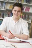 Estudante que estuda na biblioteca Fotos de Stock
