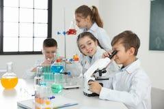 Estudante que olha através do microscópio e dos seus colegas fotos de stock royalty free
