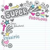 Estudante super Praise Back ao caderno Doodl da escola Fotografia de Stock Royalty Free