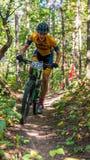 Estudante universitário na raça do Mountain bike fotos de stock