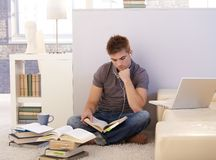 Estudante universitário que estuda em casa imagens de stock