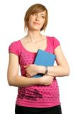 Estudante universitário que prende um livro e um pensamento Imagens de Stock