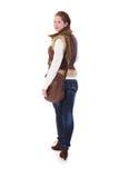 Estudante universitário que vai à escola que olha para trás Fotografia de Stock Royalty Free