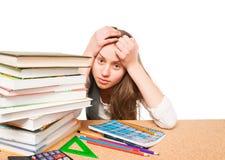 Estudante universitário nervosa antes dos exames Fotos de Stock Royalty Free
