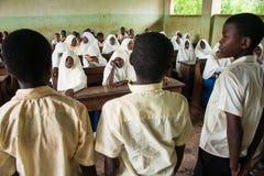 Estudantes africanos em uma sala de aula durante a lição inglesa Fotos de Stock