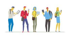Estudantes com dispositivos - ilustração colorida do estilo liso do projeto Imagens de Stock Royalty Free