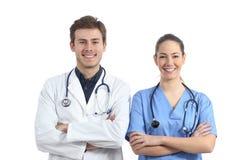 Estudantes da medicina na câmera de vista branca fotografia de stock