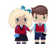 estudantes da menina e do menino na farda da escola ilustração do vetor