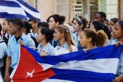 Estudantes de Havana março Imagens de Stock