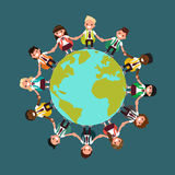 Estudantes de nacionalidades diferentes em todo o mundo Vector o mal Fotos de Stock Royalty Free