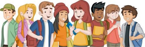 Estudantes do adolescente dos desenhos animados com livros e trouxa ilustração royalty free