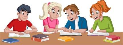 Estudantes do adolescente dos desenhos animados com livros Estudantes que fazem a pesquisa e o estudo ilustração stock