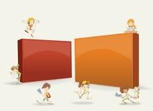 Estudantes do adolescente dos desenhos animados com portáteis, tabuletas e os telefones espertos ilustração do vetor