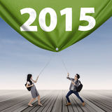 Estudantes e número 2015 Imagens de Stock Royalty Free