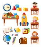 Estudantes e objetos da escola ajustados Imagem de Stock Royalty Free