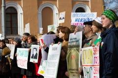 Estudantes e professores com slogan em defesa da academia de Timiryazev Fotos de Stock