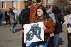 Estudantes e professores com slogan em defesa da academia de Timiryazev Fotografia de Stock