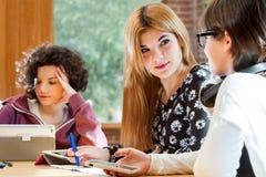 Estudantes fêmeas novos que discutem trabalhos de casa. Imagem de Stock