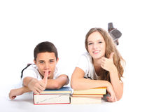 Estudantes felizes da High School no fundo branco Imagens de Stock Royalty Free