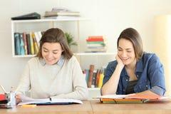 Estudantes felizes que aprendem junto em casa fotos de stock royalty free