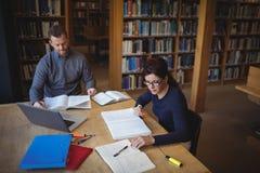 Estudantes maduros que trabalham junto na biblioteca de faculdade Fotografia de Stock Royalty Free