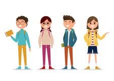 Estudantes no caráter diferente isolado no fundo branco Imagens de Stock