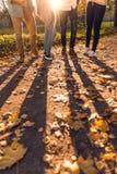 Estudantes no parque do outono imagem de stock royalty free