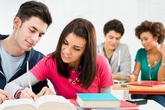 Estudantes novos que fazem trabalhos de casa Imagem de Stock