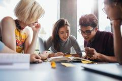 Estudantes novos que trabalham na atribuição de escola na biblioteca Imagens de Stock