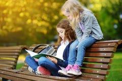 Estudantes pequenas adoráveis que estudam fora no dia brilhante do outono Estudantes novos que fazem seus trabalhos de casa Educa Foto de Stock