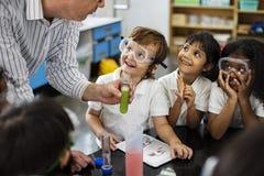 Estudantes que aprendem na classe do laboratório da experiência da ciência