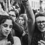 Estudantes que comemoram o dia internacional do ` s das mulheres Fotografia de Stock Royalty Free