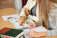 Estudantes que estudam junto na biblioteca de faculdade Imagens de Stock Royalty Free