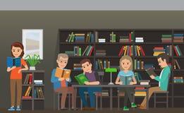 Estudantes que leem o livro de texto no vetor liso da biblioteca ilustração royalty free
