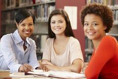 2 estudantes que trabalham na biblioteca com professor Imagens de Stock