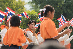 Estudantes tailandeses que participam a cerimônia de 100th aniversary de Foto de Stock
