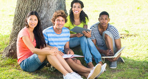 Estudantes universitário felizes que estudam no terreno Fotos de Stock