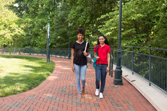 2 estudantes universitário que andam no terreno Imagens de Stock