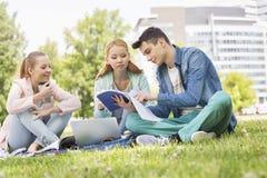Estudantes universitário que estudam no terreno Imagem de Stock Royalty Free