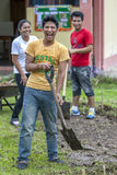 Estudantes universitário que jardinam em Indiana no Peru Imagens de Stock