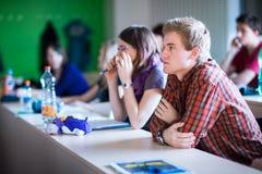 Estudantes universitário que sentam-se em uma sala de aula durante a classe imagens de stock