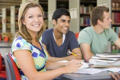 Estudantes universitários que estudam junto em uma biblioteca Imagens de Stock