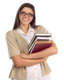Estudiante étnico con los libros en blanco Imágenes de archivo libres de regalías
