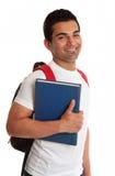 Estudiante étnico extático que sonríe exuberantemente imagen de archivo