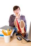 Estudiante aburrido perezoso, oficinista, aislado fotografía de archivo