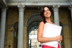 Estudiante acertado en universidad europea Imagen de archivo libre de regalías