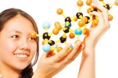 Estudiante adolescente asiático con el modelo molecular Foto de archivo libre de regalías
